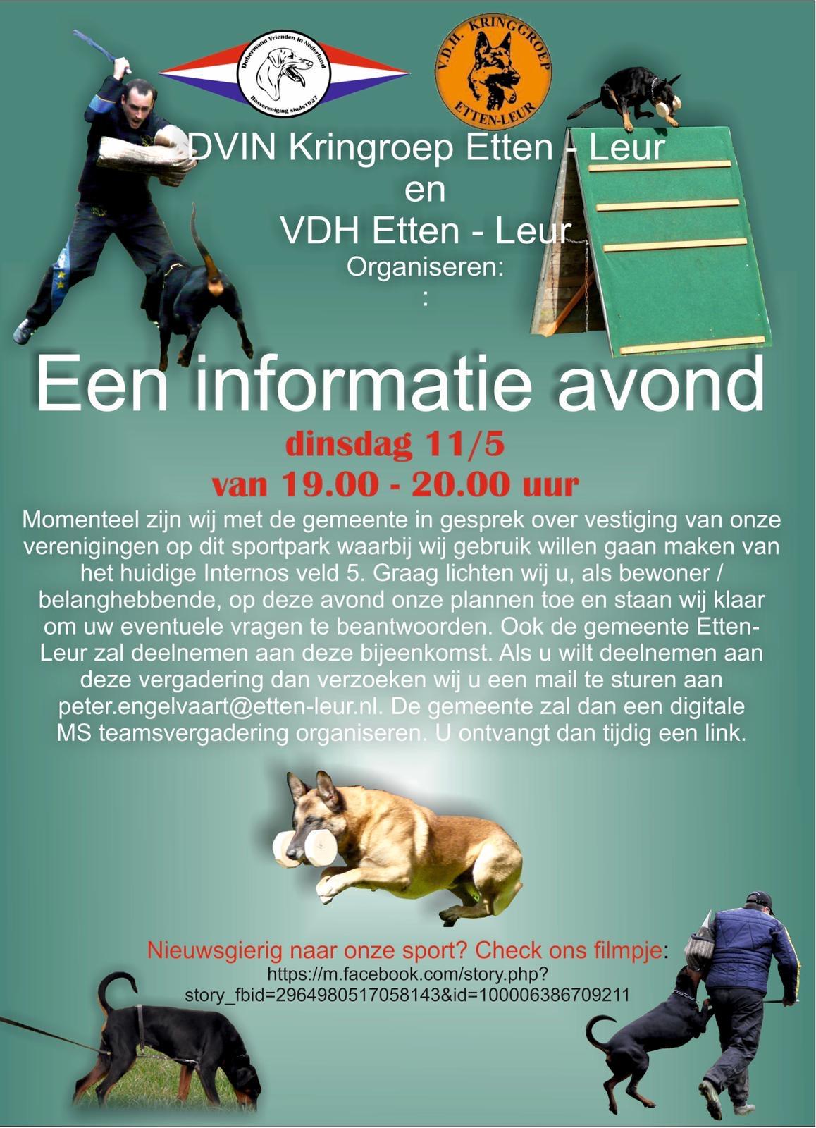 Informatie avond 11-5: Hondenvereniging op veld 5
